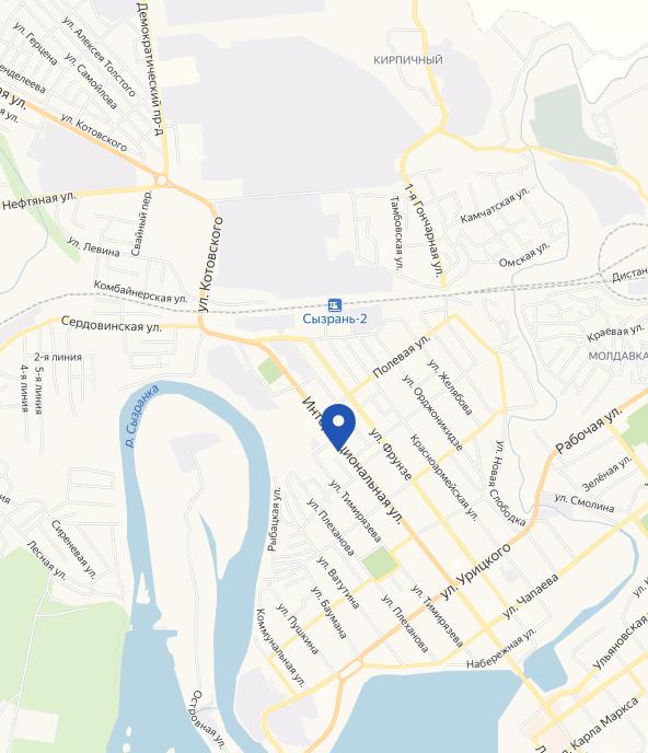 Расположение основного здания Учреждения на карте города